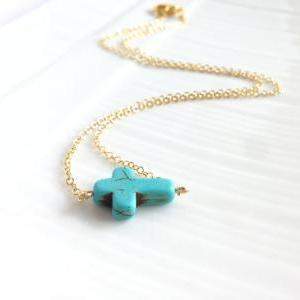 Turquoise Cross Necklace - Turquois..