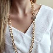 Long Gold Chain Necklace - Gold Pave Necklace - Long Layering Necklace - Gold Chain Necklace
