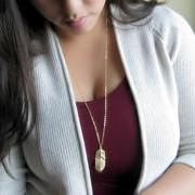 Gold Feather Necklace - Leaf - Gold - Autumn