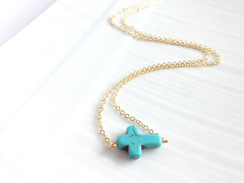 Turquoise Cross Necklace - Turquoise Sideways Cross - 14k Gold Filled - Jaywalk