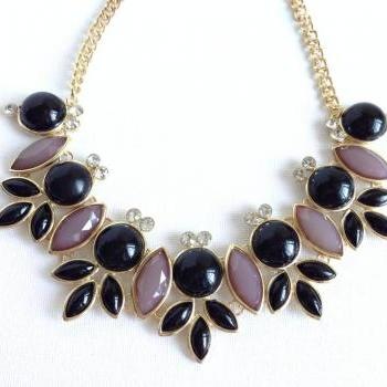 Floral Beaded Necklace - Neutral - Statement Necklace - Cluster Jewelry - Midnight in Paris