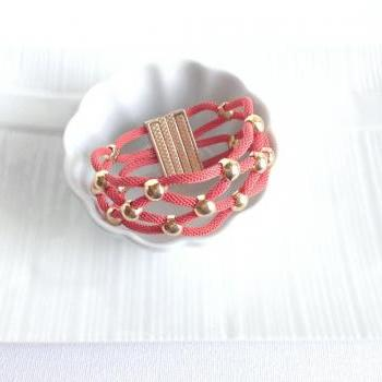 Intertwined Coral Magnetic Bracelet - Gold Bracelet - Lace Bracelet - Coral and Gold