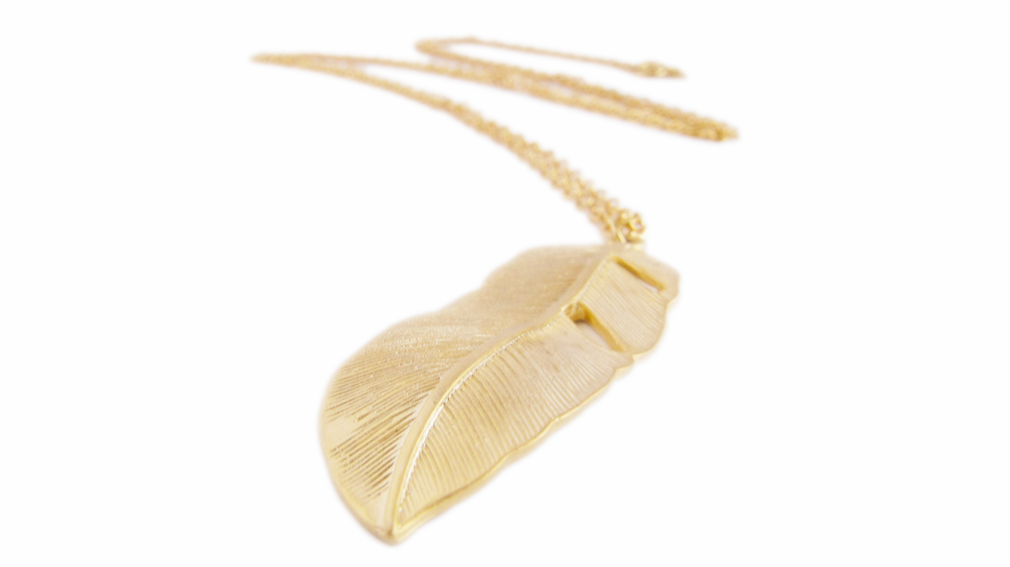 Gold Feather Necklace Leaf Gold Autumn on Luulla